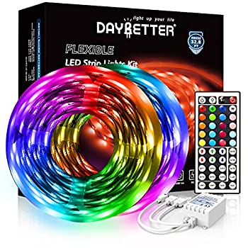 DAYBETTER Led Strip Lights 32.8ft 5050 RGB 300 LEDs Color Changing Lights Strip for Bedroom Desk Home Decoration with Remote and 12V Power Supply