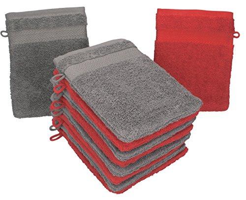 Betz 10 Stück Waschhandschuhe Premium 100% Baumwolle Waschlappen Set 16x21 cm Farbe rot und anthrazit