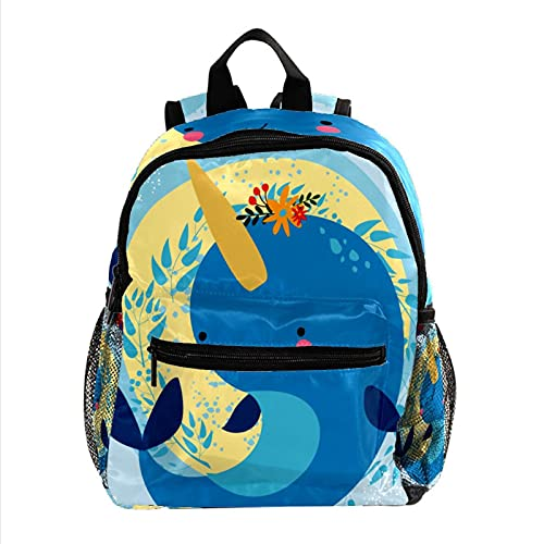 Bolso de Escuela Primaria Ballena Azul de Dibujos Animados Niños Mochila Bolsa Preescolar Mochila con Correa de arnés Correa de Hombro Ajustable 25.4x10x30 CM