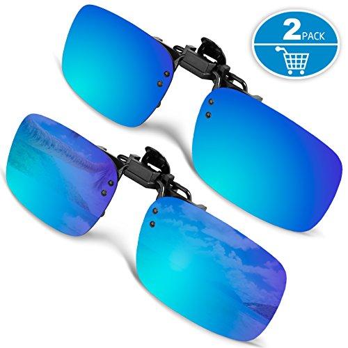 SPLAKS Sonnenbrille Aufsatz 2-Stück Clip on Polarisiert Clip polarisierte Sonnenbrille Flip up Sonnenbrille Clip Gegen Licht für Frauen und Männer (2er Blau)