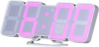 EAAGD 3D ワイヤレスリモートデジタル目覚まし時計壁掛け時計ー115種類のLEDデジタルカラーバリエーション、音声制御、3段階の調節可能な明るさ、リモコン付き (ホワイト本体)