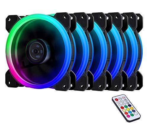 EZDIY-FAB RGB Lüfter 120mm,RGB LED PC Gehäuselüfter High Airflow,mit Controller und Hub -5 Pack