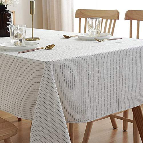 ENCOFT Tischdecke Rechteckige Baumwolle Leinen Abwaschbar Tischtuch Geeignet für Home Küche Dekoration, Verschiedene Größen (Beige, 135 x 180 cm)