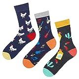 soxo 3 Paar Herren Bunte Muster Socken Set | Größe 40-45 | Motivsocken aus Baumwolle | Lustige Geschenk für Männer