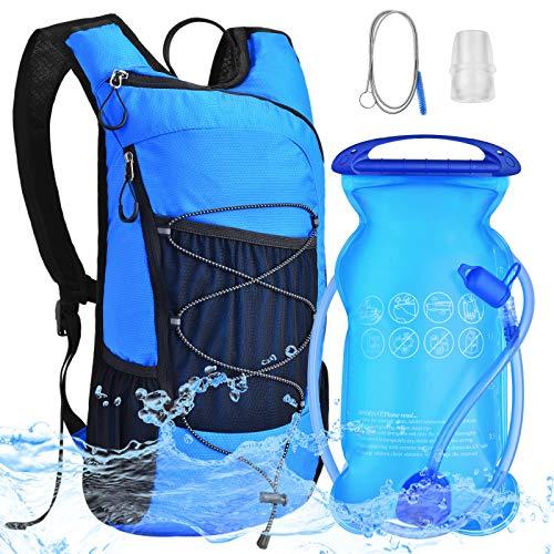 Mochila de Hidratación Bicicleta - Mochila con Bolsa de Agua 2L Bolsa Hidratación Vegiga de Agua Ligero Portátil para Ciclismo Correr Senderismo Camping Escalar Acampar Trekking