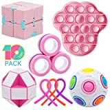 Figetget Toys Fidget Toys Pack - Fidgets Box Includes Infinite Fidget Cube, Pop-Its, Fidget Ring, Snake Puzzles, Magic Ball, Stretchy Strings - Sensory Fidget Toys Set ( 10 Pack)