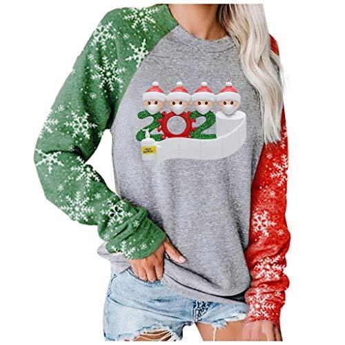 Santa Tops Frauen Langarm Pullover Weihnachten Bedruckt Patchwork Bluse...