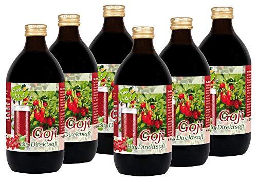 Kopp Vital Bio Goji-Saft | 100% Direktsaft | Karton mit 6 x 500ml | Vegan | Zusatzstofffrei | Ohne Gentechnik | Glutenfrei
