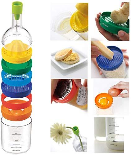 Mehrzweckfunktion Küchenwerkzeugflasche 8 In 1, Küchenutensilien (Trichter, Zitronenpresse, Gewürzreibe, Kartoffelstampfer, Käsereibe, Eiertrenner, Dosenöffner und Messbecher)