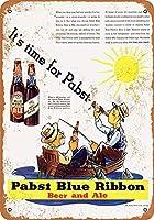 新しい20x30cm1935パブストブルーリボンビールとエールヴィンテージルックメタルサイン家の装飾8x12インチ