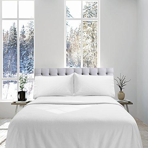 Genteele 100% Cotton Flannel Sheet Set - Luxurious Heavyweight - Ultra Soft Premium Velvety Quality 4 Piece Set - Queen, White