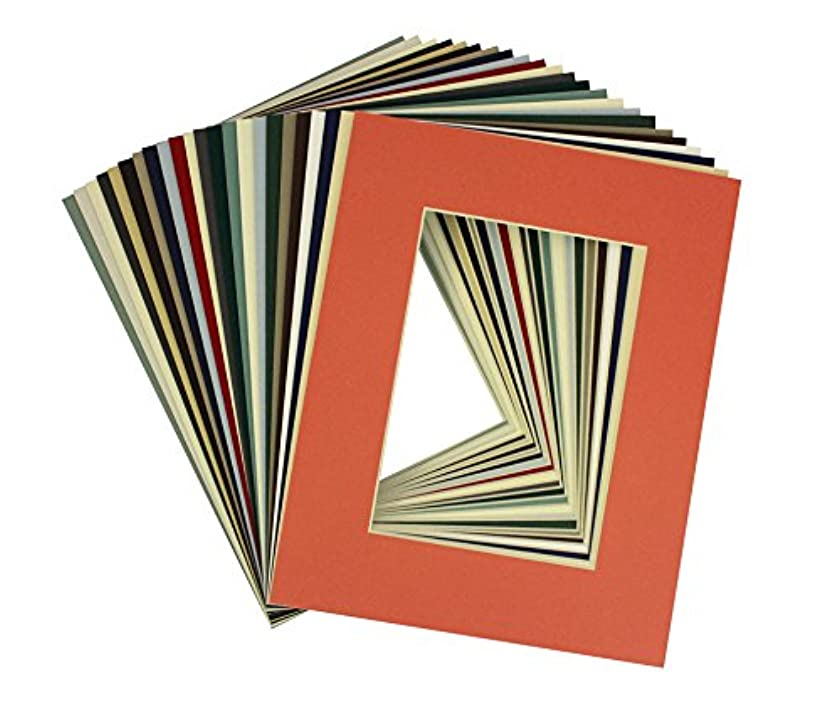 Mat Board Center, High Quality Pack of 25 Set 8x10 Assorted Mix Colors White Core Picture Mats Mattes Matting for 5x7 Photo with Backing and Clear Bags