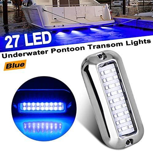 EEEKit Stainless Steel 27 LED Blue Underwater Pontoon Transom Lights for Boats Marine product image