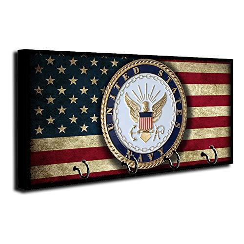 Brotherhood American Flag US Navy Emblem Design Key Holder Organizer Wall Mount Rack for Holders The Home Keys Ring Decorative Hangers Decor Hook Hanger