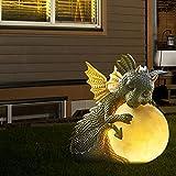 Dinosaurier Led Gartenleuchten Gartenfiguren Gartendeko Figuren für Außen Zen Garten Kleine Dinosaurierform Meditationsskulptur Home Desk Dragon Meditierte Statue 16cm (D)