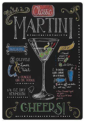 Metalen bord 20 x 30 cm Martini cocktail olijf Vermouth Gin wodka bord bar recept