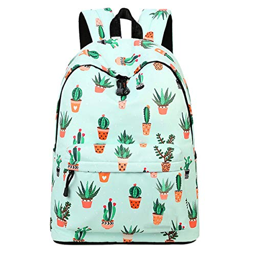 School Backpack Fashion Book Bag Waterproof Cute Schoolbag Lightweight Laptop Rucksack Print College Daypack with for Teenage Girls&Women (Fashion Leisure Backpack Cactus)