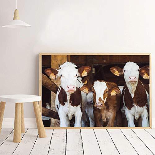 WTYBGDAN Baby Calves Country Photo Poster Canvas Prints Decoración de la Pared del Cuarto de niños, Highland Cow Farmhouse Wall Art Picture Pinturas para Habitaciones de niños | 50x70cm | Sin Marco