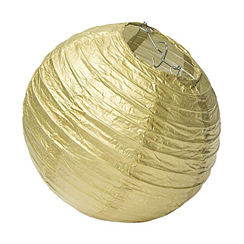 SUNBEAUTY 5er Set Papier Lampions Gold Papierlaterne Feier Party Zeremonie Dekor (20cm, Gold)