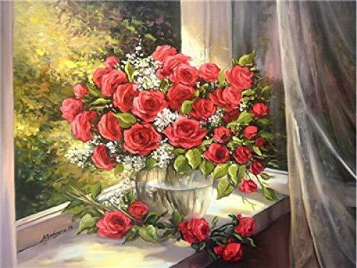 N/O Verf Door Getallen Vensterbank rode roos bloem Schilderen door Getallen Kits voor Beginners Volwassenen DIY Hand Geschilderd met Borstels en Acryl Pigment 16x20 inch Frameless