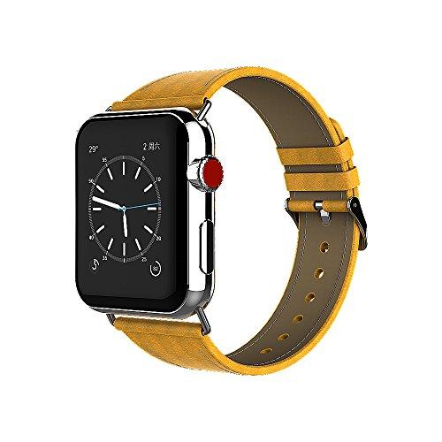 Urvoix Ersatzarmband für Apple Watch, 42 mm, glattes Leder, mit Metallschließe, für Apple Watch Serie 3 Serie 2 Serie 1 Sport und Edition, Gelb
