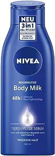 NIVEA Bogaty w składniki mleczko do ciała (400 ml), do 48 h nawilżenia, balsam z formułą 3 w 1 do suchej skóry z serum do ...