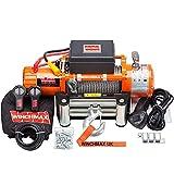 Winchmax 13.000 libras (6.123 kg) Cabrestante eléctrico naranja original de 24v. Cuerda de acero, control remoto inalámbrico doble.
