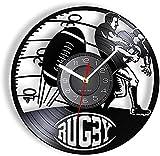 tuobaysj Horloge Murale Horloge Murale De Décoration De Jeu De Rugby Horloge Murale De Sport De Rugby avec Rétroéclairage LED Art De Disque Vinyle pour Les Joueurs 30X30Cm