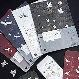 CHUJIAN 9 Pcs/pack Cute 3 Envelopes + 6 Letters Ancient Chinese Style Immortal Crane Series Paper Letter Envelope Set Gift...