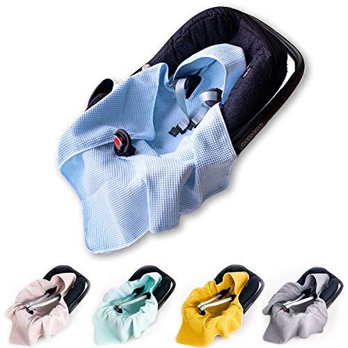 BABEES Nid d'ange à capuche en coton gaufré pour nacelle et siège auto universel par exemple Maxi-Cosi Römer Cybex Printemps été Couverture légère pour poussette porte-bébé Bleu