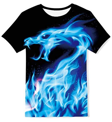 ALISISTER 3D Galaxis Dragon Druck T Shirt Kinder Kurzarm Rundhalsausschnitt Grafik Blau T-Shirts Jungen Mädchen Sommer Beiläufig Sport Party Tee Shirts