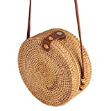 Miyanuby Damen Umhängetasche Rattan Handgemachte Vintage Tasche Handtaschen für Frauen Travel Strandtasche Sommer Umhängetasche - 3