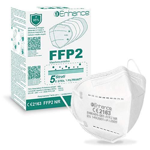 enhance Mascherine FFP2 20 PZ con marchio CE protettive, Maschera di protezione antiparticolato FFP2 20 pz mascherine FFP2