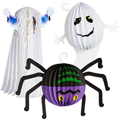 COM-FOUR® 3x lantaarns - lantaarn met griezelige Halloween-motieven - papieren lantaarn voor Sint-Maarten en Halloween - Martin-lantaarn voor kinderen (03 stuks - Ø 20cm Halloween)