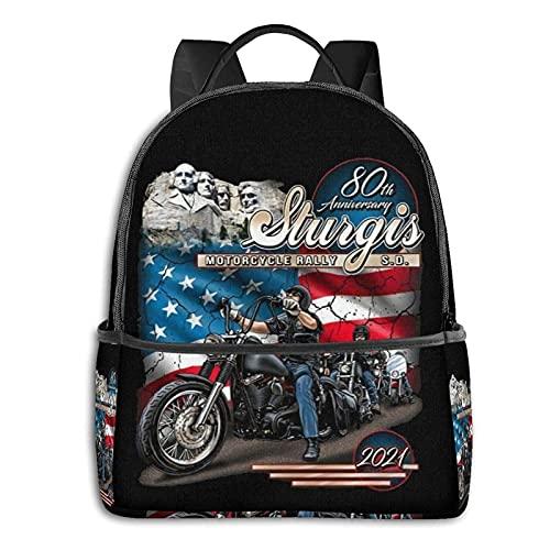 2021 Sturgis - Mochila de moto para escuela de rallye unisex clásica mochila casual
