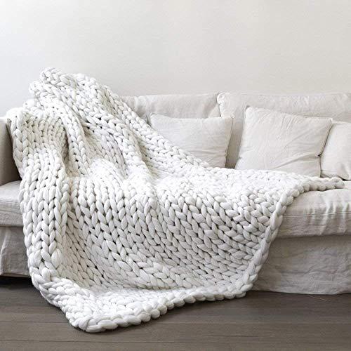 Yijiujiuer Chunky Knit Blanket Giant Throw Merino Wool Yarn Hand Made Bed Sofa Chair Mat (White 32'x40')