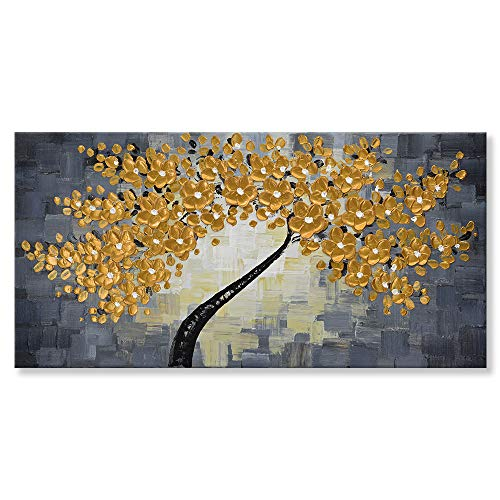 SEVEN WALL ARTS - 100% Hand-Painted 3D Knife Palette Floral Modern Thick Texture Flowers Oil Painting for Living Room Bed Room Stretched On Canvas Ready to Hang (Gold Flower, 20 x 40 Inch)