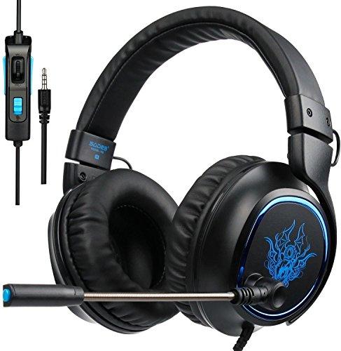 Sades R5 Casque Gaming Gamer avec Microphone Contrôle Volume + Audio Stéréo Basse + Anti-Bruit + Jeux Vidéo Gaming Compatible pour PS4 Xbox One Laptop Tablette Mac PC et Tous Les Smart Phone