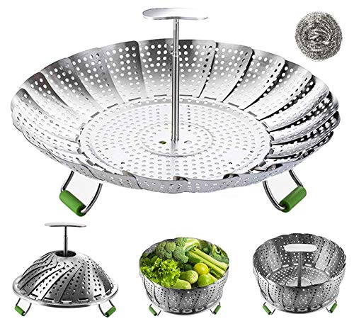 Folding Steamer Insert with Anti-hot Extendable Handle and Non-Slip Legs Fits Various Size Pot and Pressure Cooker TOCYORIC Steamers for Cooking Stainless Steel Vegetable Steamers Basket