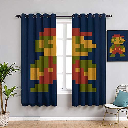 ICONIC MARIO Super Mario - Juego de cortinas opacas con aislamiento térmico (42 x 45 pulgadas)