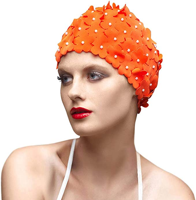 1950s Bathing Suits, Swimsuits History BALNEAIRE Flowers Swim Cap Women Pearl Floral Swim Cap Hat Long Hair Polyester Swimming Caps Not Waterproof $18.99 AT vintagedancer.com
