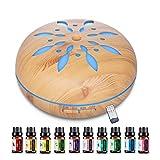 LAVETER Diffuseur d'huiles essentielles 550 ml, 10 types d'huiles essentielles gratuites, diffuseur d'arôme humidificateur à ultrasons + lumière LED 7 couleurs, télécommande, pour la maison, yoga,SPA