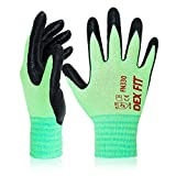 DEX FIT Nitrile Work Gloves FN330, 3D Comfort Stretch Fit, Power Grip, Smart Touch, Durable Foam Coated, Thin & Lightweight, Machine Washable, Green Large 3 Pairs