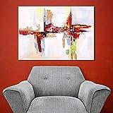 BGMBB Arte de la Pared Pintado a Mano Moderno Abstracto Rojo Pintura al óleo decoración de la Pared Lienzo Arte Imagen para Sala de Estar decoración del hogar póster-60x90cm-sin Marco