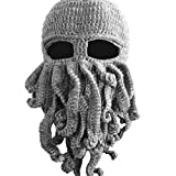Bear boys Octopus Beanie Hat For Men Winter Warm Skiing Biking Costume Squid Mask (Gray)
