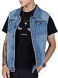 Kedera Men's Denim Vest Plus Size Button Down Jeans Vests Jacket 3XL