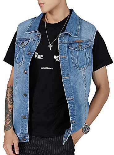 Kedera Men's Denim Vest Plus Size Button Down Jeans Vests Jacket 3XL Blue