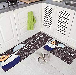 Kitchen Floor Mats Runner with Anti Skid Backing,Set of 2 (17 x 26-18 x 54), Cushioned Chef Soft Kitchen Rugs Standing Ant...