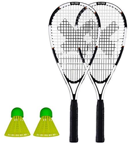 Pure 2 Improve Speed Badminton Schläger Set bestehend aus 2 Schlägern, 2 Federbällen und Tragetasche Powered by XQmax