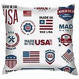 Set Verschiedene Made USA Graphics Labels Flagge Dekokissen Fall Kissenbezug Kissenbezug Aquarell...